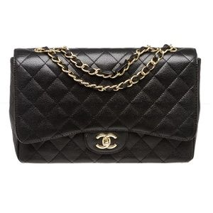161-17 Chanel Black Caviar Leather Single Flap Bag